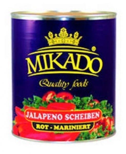Jalapenos Scheiben rot, mariniert 3100 g / Mikado