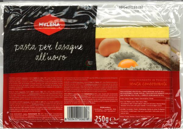 Frische Lasagne mit Ei 250 g / Mylena