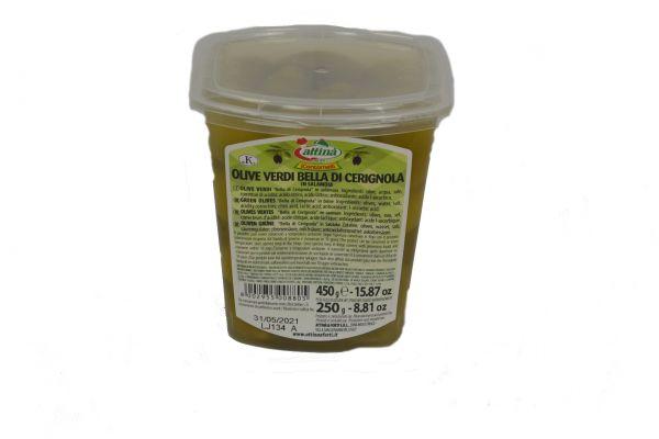 Olive Verdi Bella di Cerignola 450 g Schale / Attina